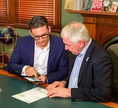 Sniip's CEO Damien Vasta and Toowoomba Region Mayor Paul